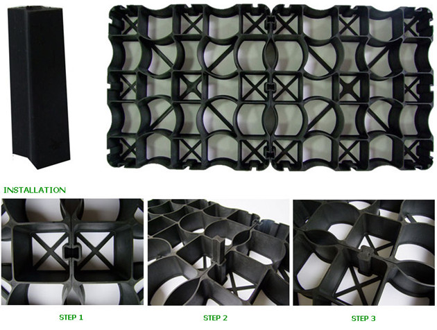 Plastic grid for horse flooring