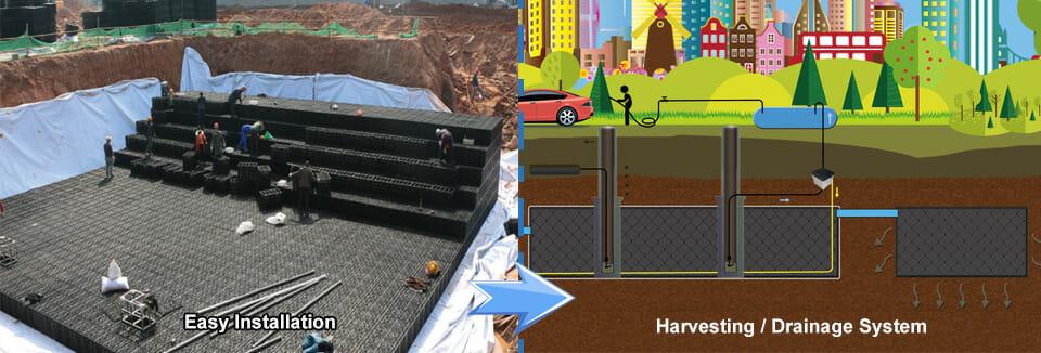 Módulo de cosecha de agua de lluvia, tanques de almacenamiento modulares