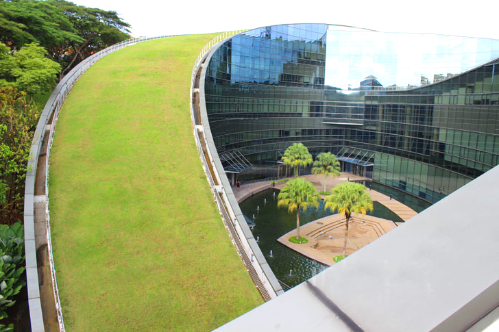 "In ""Garden City"" Singapore, Nanyang Technological University in Singapore, as a pioneer in the implementation of roof energy-saving green technology in the education system, has a special green roof building-the School of Art, Design and Media Building."